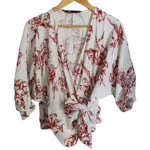 ZARA Off-white and Red Flowers Wrap Knotted V Neck Linen Top / Blouse Size Small